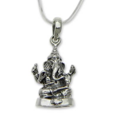 Sterling silver pendant necklace, 'Shining Lord Ganesha' - Sterling Silver Hindu Pendant Necklace