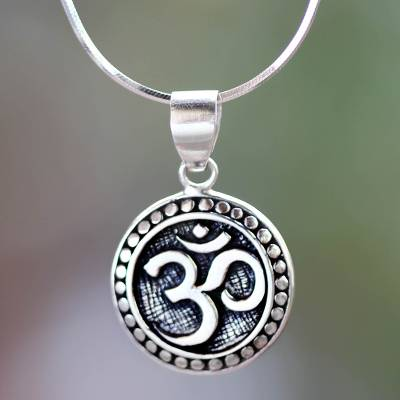 Sterling silver pendant necklace, 'Om Aura' - Hand Crafted Sterling Silver Hindu Om Necklace