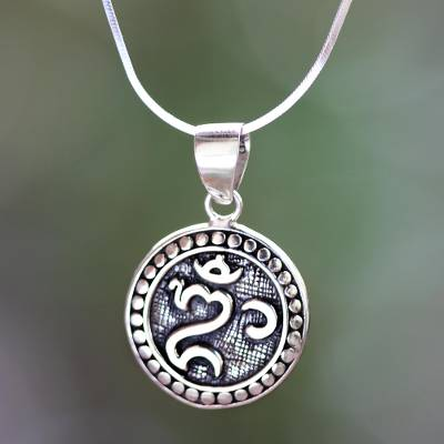 Sterling silver pendant necklace, Om Halo