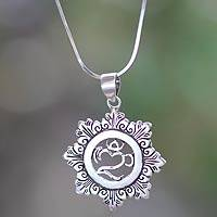 Sterling silver pendant necklace, 'Om Bouquet' - Balinese Silver Om Necklace