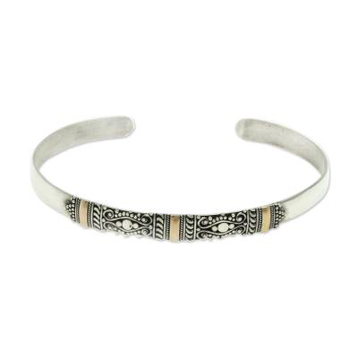Silver Bracelet with 18k Gold Accents