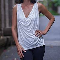 Sleeveless top, 'Clouds Over Bali' - Scoop Neck White Rayon Sleeveless Top