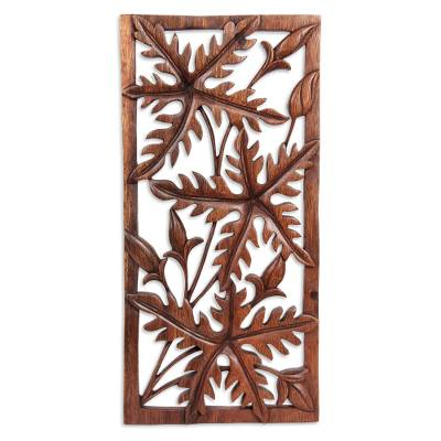 Wood wall panel, 'Forest Song' - Handcrafted Leaf Relief Panel
