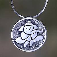 Sterling silver pendant necklace, 'Meditative Ganesha' - Hindu Medallion Sterling Silver Necklace