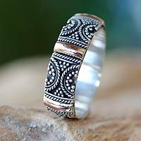 Gold accent band ring, 'Sands of Time' - Unique Sterling Silver Gold Accented Womens Band Ring