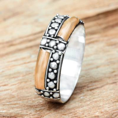 Gold accent band ring, 'Journey' - Balinese Artisan Crafted Gold Accent Ring