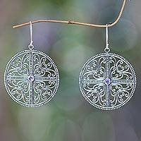 Amethyst dangle earrings, 'Circular Symmetry' - Handcrafted Silver Lace Earrings with Amethysts