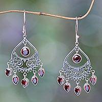 Garnet chandelier earrings, 'Tears of the Sun' - Artisan Crafted Garnet Chandelier Earrings