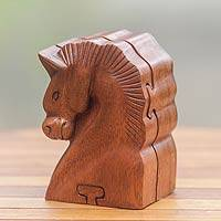 Wood puzzle box, 'Sumba Horse' - Hand Carved Balinese Wood Puzzle Box