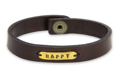 Leather wristband bracelet, 'Happy' - Handcrafted Leather and Brass Wristband Bracelet