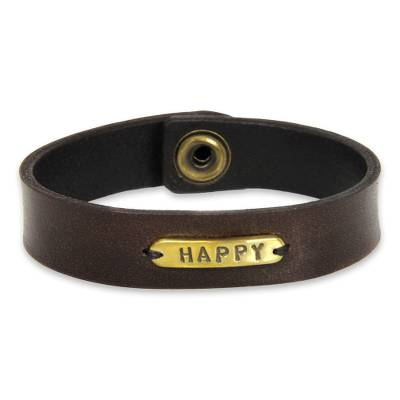 Men's leather wristband bracelet, 'Happy' - Men's Handcrafted Leather and Brass Wristband Bracelet