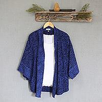 Batik kimono jacket, 'Indigo Garden' - Blue Javanese Batik Rayon Jacket