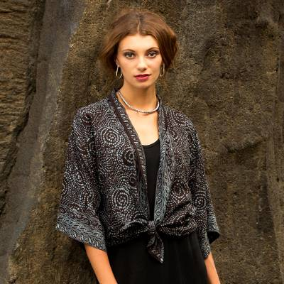 Batik kimono jacket, 'Javanese Dove' - Gray and Black Javanese Batik Style Rayon Jacket