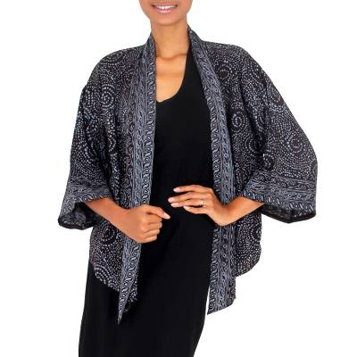 Batik kimono jacket, 'Javanese Dove' - Gray and Black Javanese Batik Rayon Kimono Jacket
