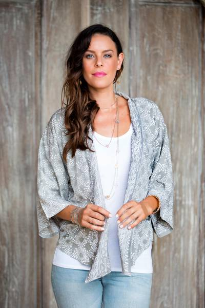 Batik jacket, 'Nebula' - Grey and Ivory Batik Rayon Jacket
