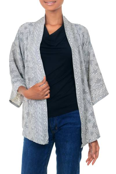Batik jacket, 'Nebula' - Grey and Ivory Batik Rayon Jacket