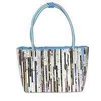 Recycled paper shoulder bag, 'Sky Blue News' - Recycled Paper Shoulder Bag with Cotton lining