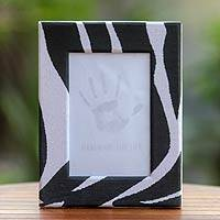 Recycled paper photo frame, 'Wild Monochrome Zebra' (4x6) - Handcrafted Recycled Paper Photo Frame (4x6)