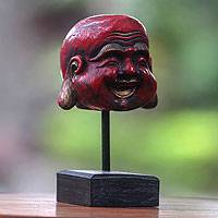 Wood sculpture, 'Laughing Red Buddha'
