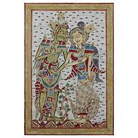 'Rama and Sita' - Ramayana Lovers Kamasan Style Painting