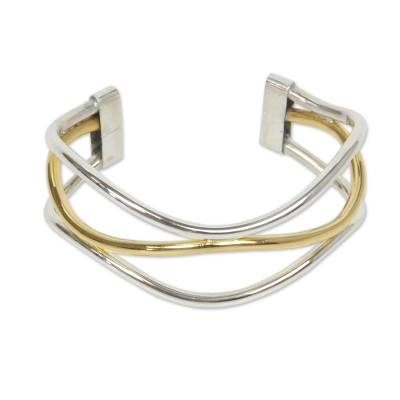Handcrafted Silver Bracelet with 18k Gold Accents