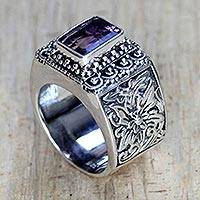 Amethyst cocktail ring, 'Royal Beauty' - Balinese Silver and Amethyst Cocktail Ring
