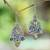 Citrine and amethyst dangle earrings, 'Secret Garden' - Balinese Citrine and Amethyst Silver Earrings thumbail