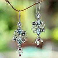 Cultured pearl and blue topaz dangle earrings, 'Floral Sonnet' - Blue Topaz with Pearl and Garnet Drop Earrings from Bali