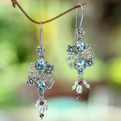 Cultured pearl and blue topaz dangle earrings, 'Sky Sonnet' - Balinese Cultured Pearl and Blue Topaz Amethyst Earrings