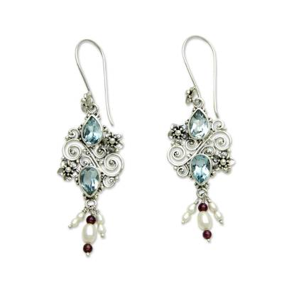 Cultured pearl and blue topaz dangle earrings, 'Floral Sonnet' - Balinese Cultured Pearl and Blue Topaz Amethyst Earrings