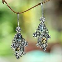 Blue topaz and citrine dangle earrings, 'Plumeria Dew' - Balinese Cultured Pearl and Blue Topaz Garnet Earrings