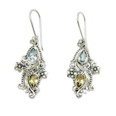 Blue topaz and citrine dangle earrings, 'Plumeria Dew' - Balinese Citrine and Blue Topaz Earrings