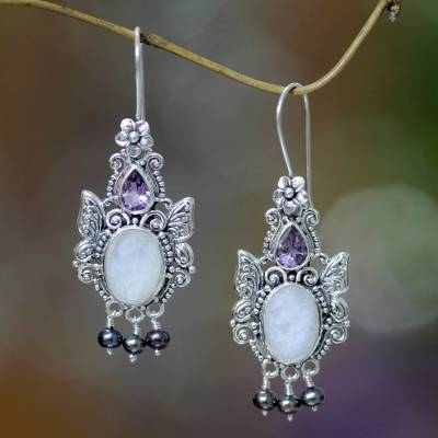 Rainbow moonstone dangle earrings, 'Sky Empress' - Balinese Cultured Pearl and Moonstone Amethyst Earrings