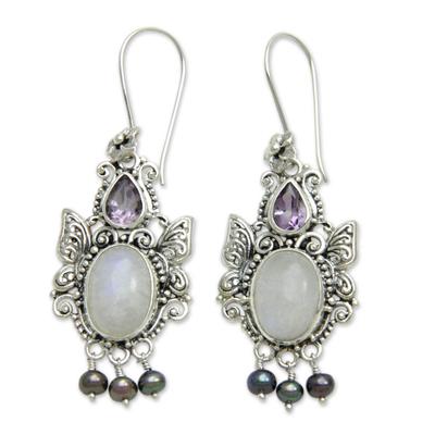 Rainbow moonstone dangle earrings, 'Sky Empress' - Balinese Cultured Pearl and Moonstone Amethyst Earrings
