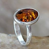 Amber single stone ring, 'Harmony Sunset' - Natural Amber on Sterling Silver Ring