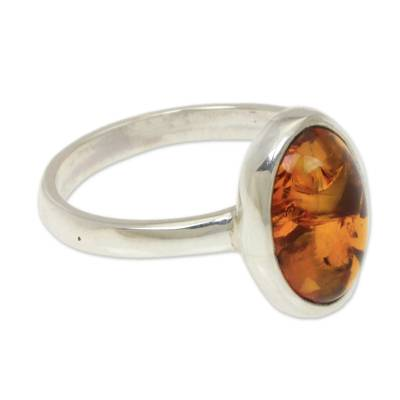 Natural Amber on Sterling Silver Ring