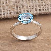 Blue topaz solitaire ring, 'Pacific Glory'