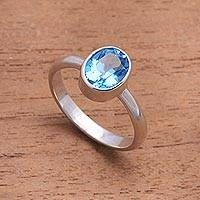 Blue topaz single-stone ring, 'True Emotion' - Blue Topaz and Sterling Silver Ring Crafted in Bali