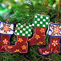 Wood ornaments, 'Christmas Stockings' (set of 4) - Colorful Wood Ornaments Handcrafted in Bali (set of 4)