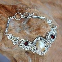 Cultured pearl and garnet filigree bracelet, 'Kintamani Lady' - Balinese Pearl and Gemstone Silver Lace Bracelet