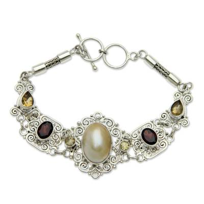 Balinese Pearl and Gemstone Silver Lace Bracelet