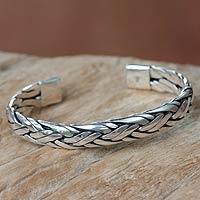 Sterling silver cuff bracelet, 'Singaraja Weave'