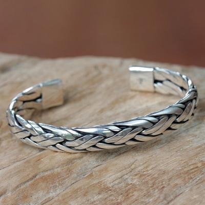 Sterling silver cuff bracelet, 'Singaraja Weave' - Braided Sterling Silver Cuff Bracelet from Bali