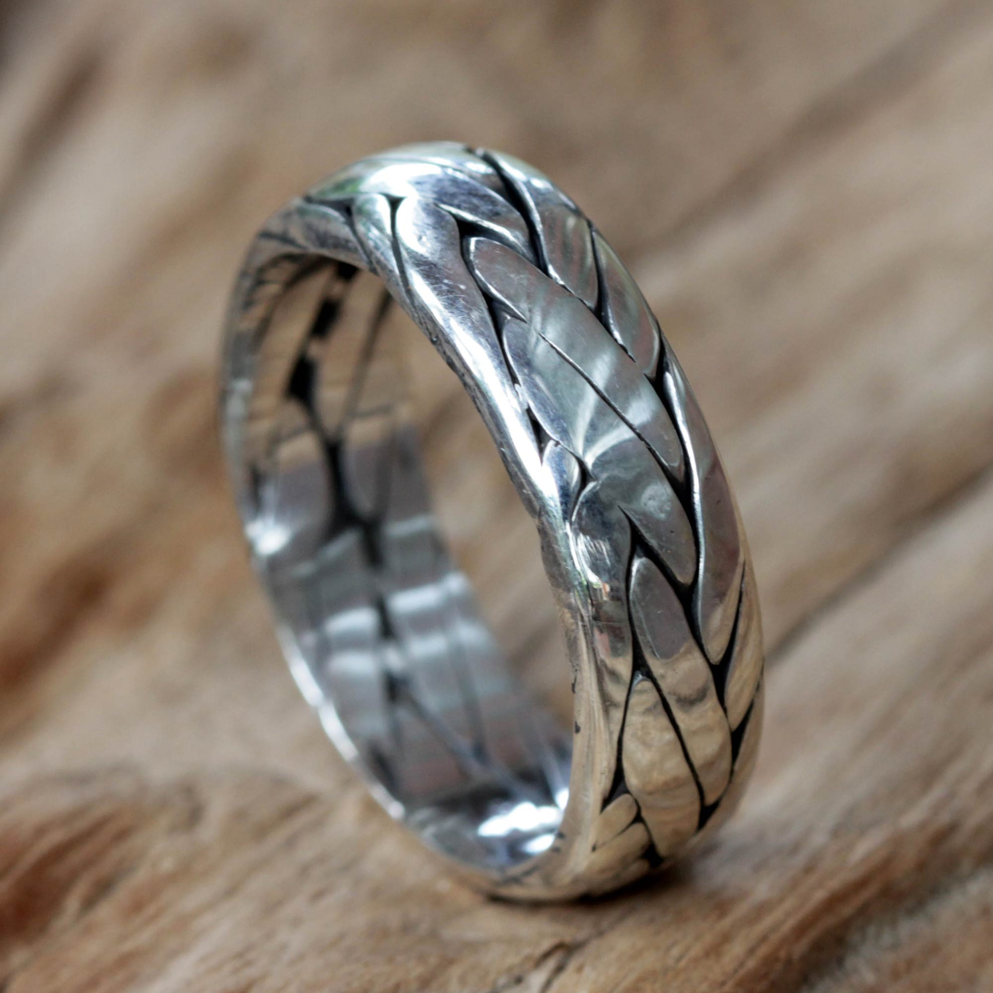Uni Braided Sterling Silver Ring from Bali Singaraja Weave