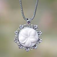 Sterling silver pendant necklace, 'Frangipani Moon' - Artisan Crafted Sterling Silver Floral Necklace