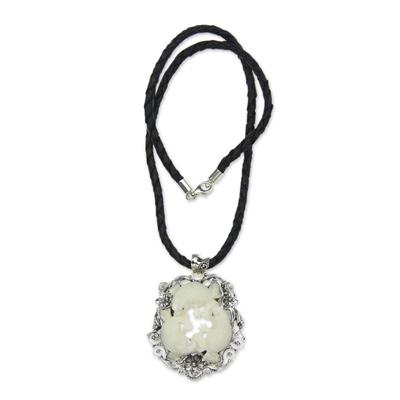 Sterling silver pendant necklace, 'Floral Frog Trio' - Artisan Crafted Sterling Silver Frog Necklace