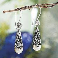 Cultured pearl dangle earrings, 'White Arabesque Dewdrop'