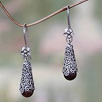 Cultured pearl dangle earrings, 'Brown Arabesque Dewdrops'