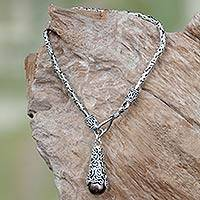 Cultured pearl charm bracelet, 'Brown Arabesque Dewdrop' - Filigree Sterling Silver and Brown Pearl Charm Bracelet