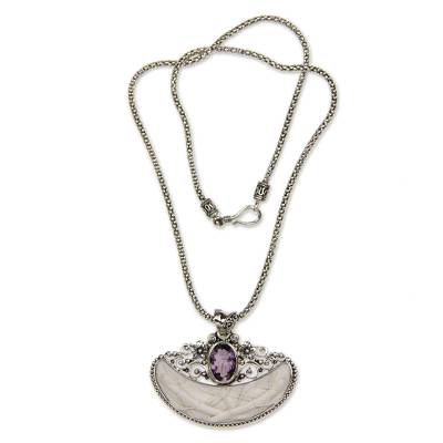 Amethyst pendant necklace, 'Paradise Moon' - Artisan Crafted Amethyst Sterling Silver Necklace